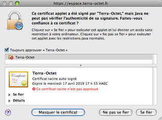 Message d'avertissement Java Mac OS Terra-Octet