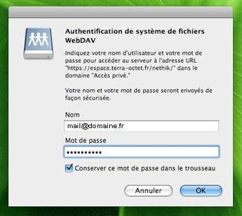 Fenêtre d'authentification Mac OS